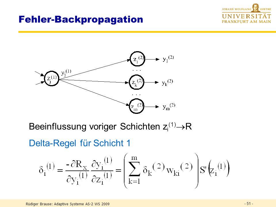 Rüdiger Brause: Adaptive Systeme AS-2 WS 2009 - 50 - Backpropagation-Lernregel letzte Schicht Lernziel : R(w*) = min E(y(w) - L(x)) 2 min. mittl. quad