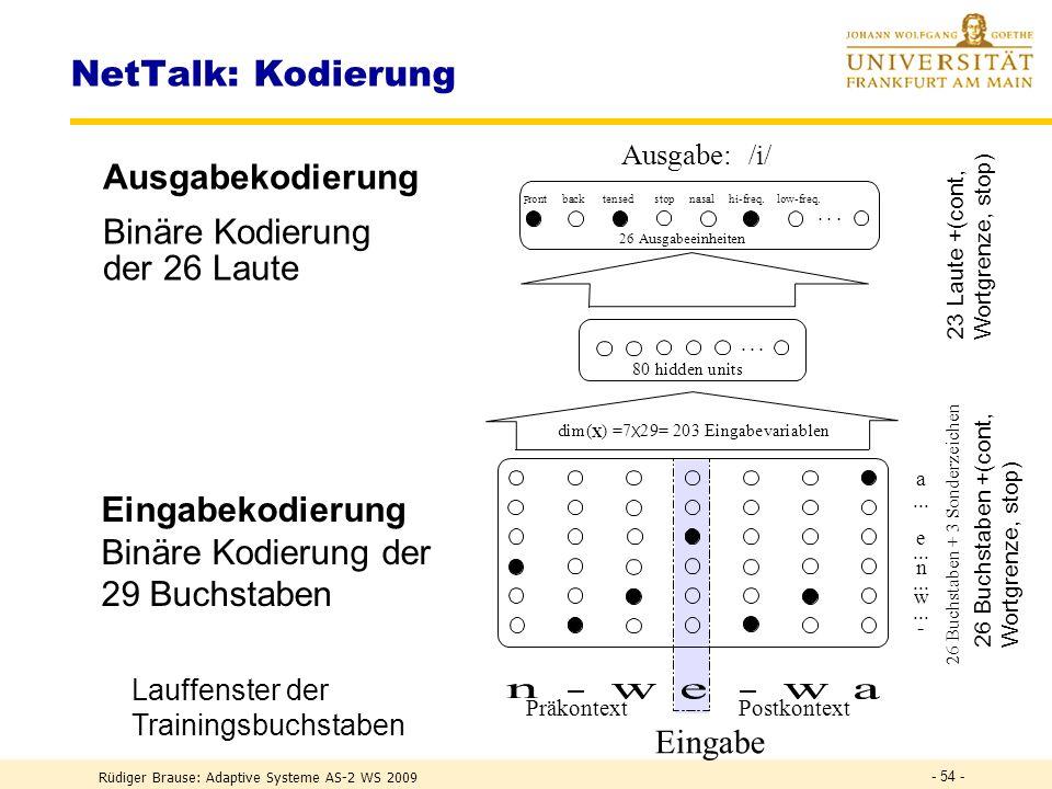Rüdiger Brause: Adaptive Systeme AS-2 WS 2009 - 53 - Anwendung BP Gegeben DECtalk Ausgabe Text Sprache der Fa. Digital Eq. (DEC) Aufwand 20 PJ für 95%