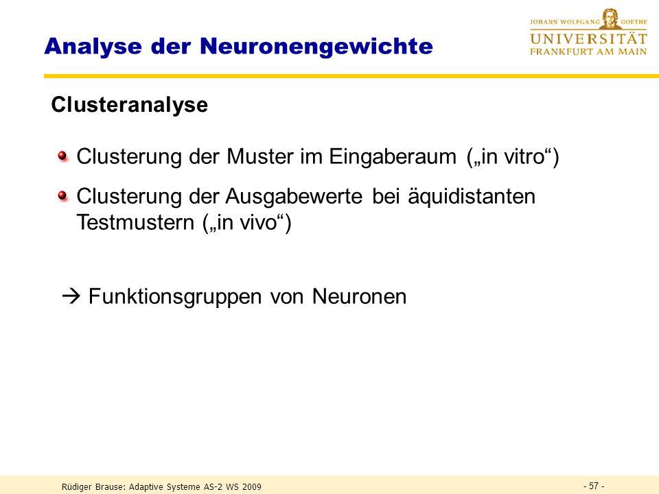 Rüdiger Brause: Adaptive Systeme AS-2 WS 2009 - 56 - Analyse der Neuronengewichte Clusteranalyse w 2 w 1 P 1 P 2 P 3 P 4 P 5 P 6 P 7 P 8 a 1 a 3 a 2 d