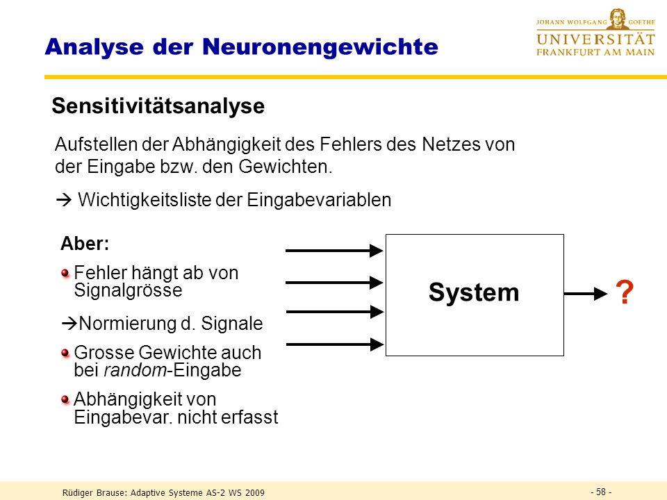 Rüdiger Brause: Adaptive Systeme AS-2 WS 2009 - 57 - Analyse der Neuronengewichte Clusteranalyse Clusterung der Muster im Eingaberaum (in vitro) Clust