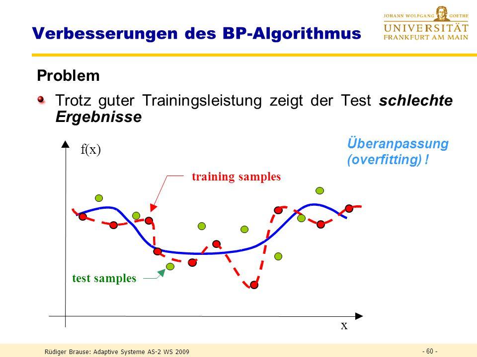 Rüdiger Brause: Adaptive Systeme AS-2 WS 2009 - 59 - Verbesserungen des BP-Algorithmus Problem Das System kann in einem lokalen Optimum
