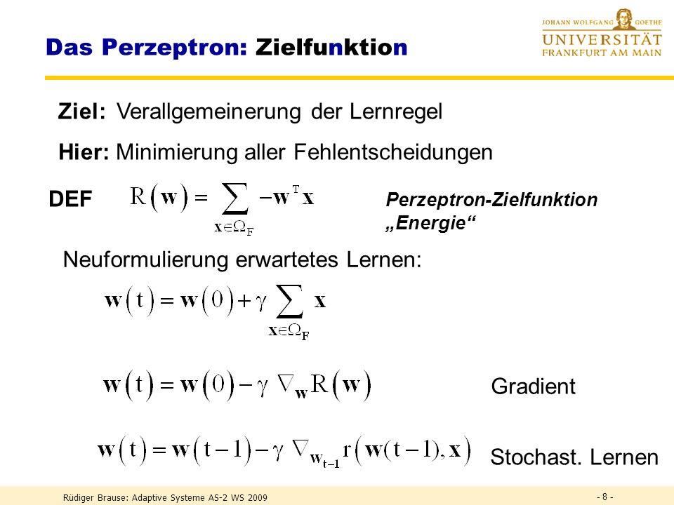 Rüdiger Brause: Adaptive Systeme AS-1, WS 2009 - 7 - Lernen durch Iteration Gradientenabstieg einer Zielfunktion R(w) w := (w (t-1) – w (t) ) ~ – w R(