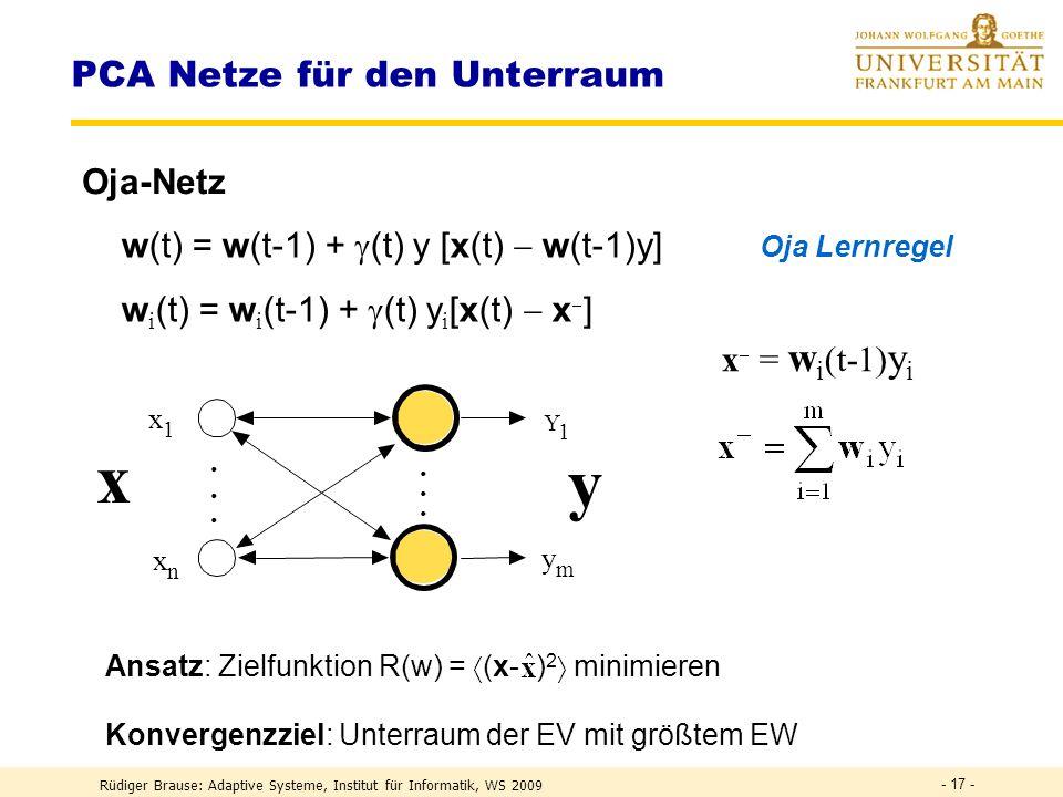 Rüdiger Brause: Adaptive Systeme, Institut für Informatik, WS 2009 - 16 - EINE Lernregel für Hebb-Lernen und Gewichtsnormierung Hebb-Regel w (t) = w (t-1) + (t) yx Normierung w i (t) Einsetzen 1.