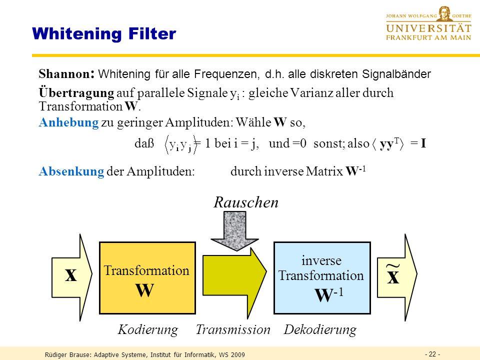 Rüdiger Brause: Adaptive Systeme, Institut für Informatik, WS 2009 PCA-Netze PCA-Transformation ICA-Transformation Weissen - 21 -