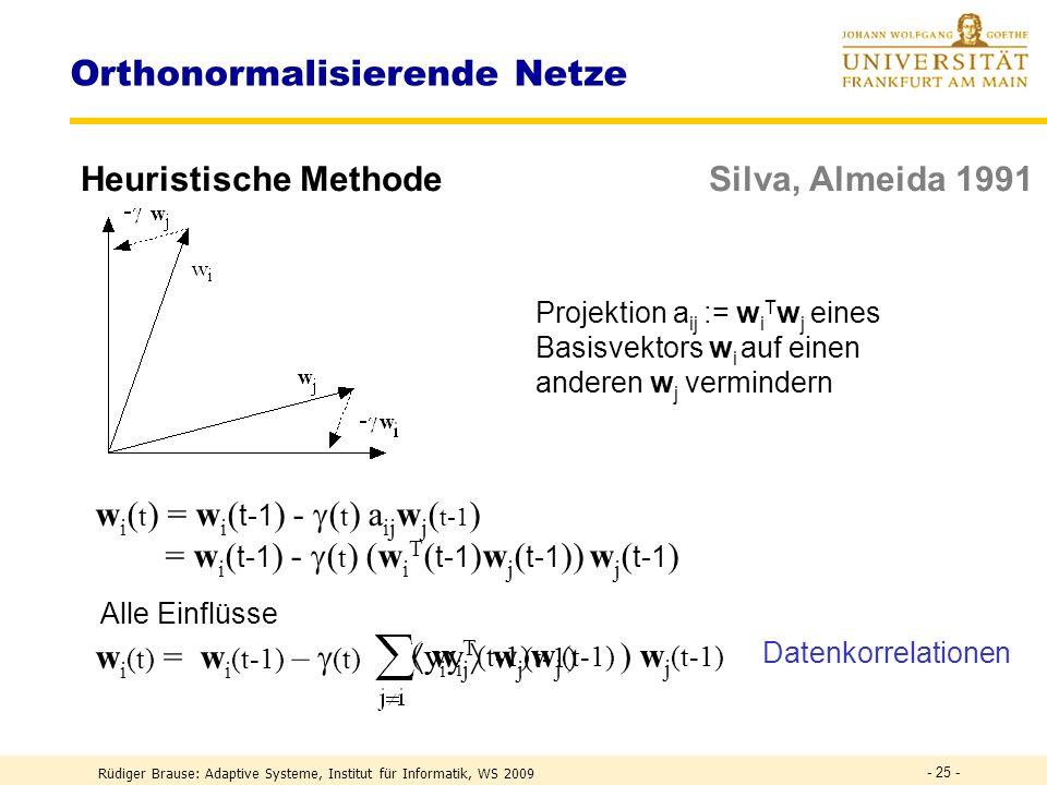 Rüdiger Brause: Adaptive Systeme, Institut für Informatik, WS 2009 - 24 - Whitening Filter Absenkung (Rücktransformation) Wenn B = ( 1 w 1,..., n w n