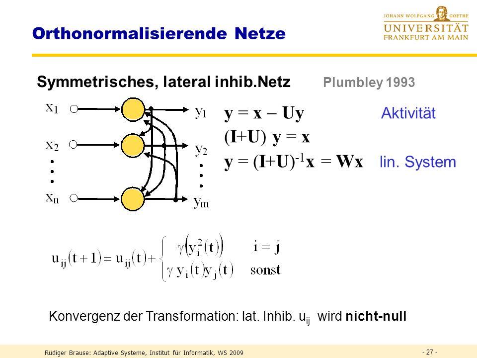 Rüdiger Brause: Adaptive Systeme, Institut für Informatik, WS 2009 - 26 - Orthonormalisierende Netze Symmetrisches, lateral inhib.Netz Brause, Rippl 1