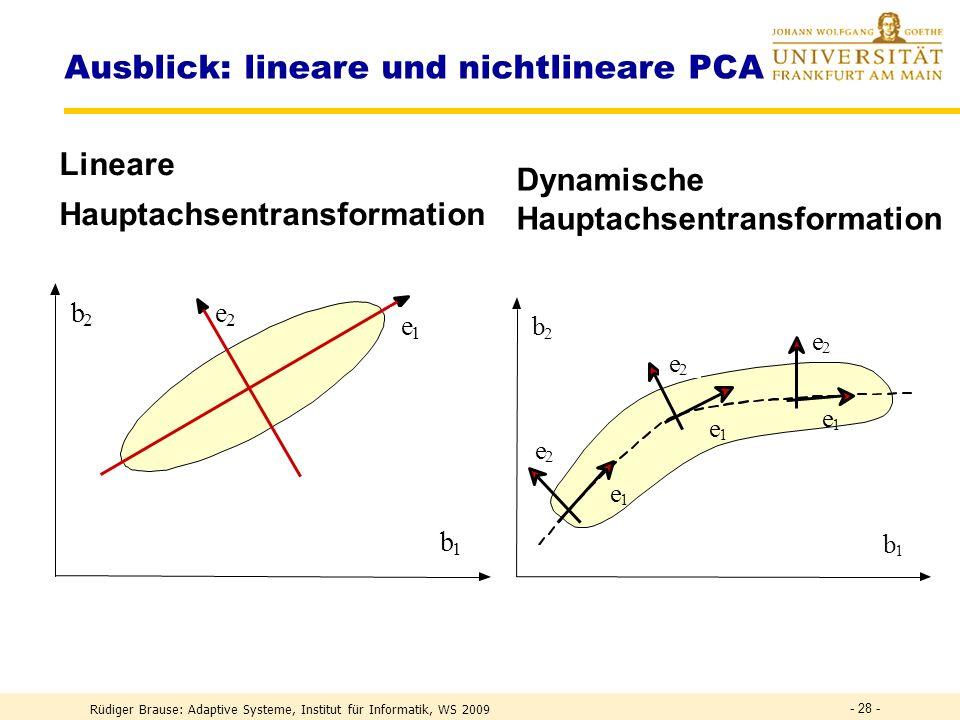 Rüdiger Brause: Adaptive Systeme, Institut für Informatik, WS 2009 - 27 - Orthonormalisierende Netze Symmetrisches, lateral inhib.Netz Plumbley 1993 y = x Uy Aktivität (I+U) y = x y = (I+U) -1 x = Wx lin.