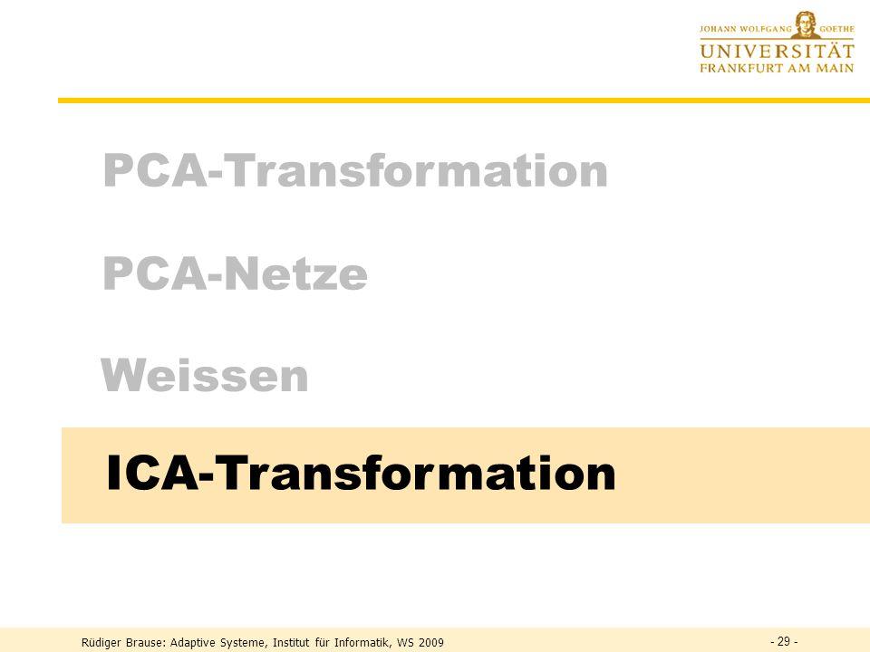 Rüdiger Brause: Adaptive Systeme, Institut für Informatik, WS 2009 - 28 - Ausblick: lineare und nichtlineare PCA Lineare Hauptachsentransformation Dyn