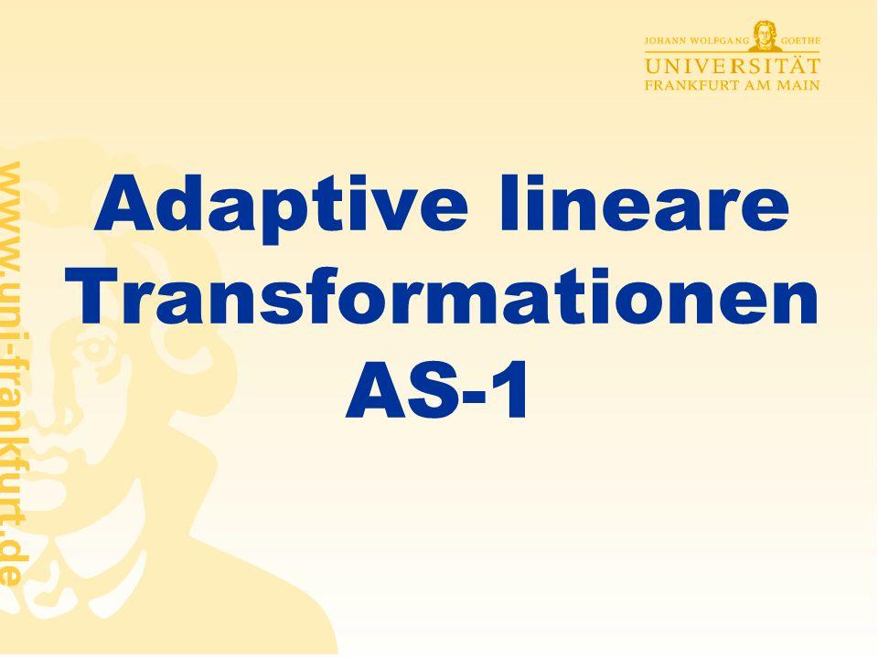 Rüdiger Brause: Adaptive Systeme, Institut für Informatik, WS 2009 - 11 - Transformation mit minimalem MSE Was ist die beste Schätzung für die Konstanten c i .