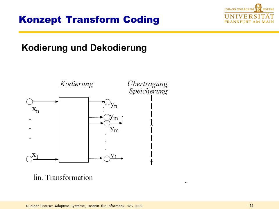 Rüdiger Brause: Adaptive Systeme, Institut für Informatik, WS 2009 - 13 - Transform coding – Wozu? Verlustfreie Kodierung : Max 1:2 (Zip). Unnötig bei