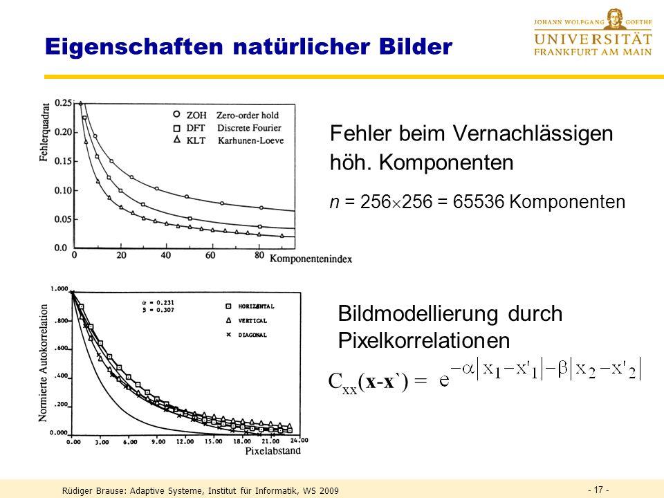 Rüdiger Brause: Adaptive Systeme, Institut für Informatik, WS 2009 - 16 - Transform Coding Kodierung: 256x256 Pixel, 8 Bit Grauwert, 32x32 Unterbilder