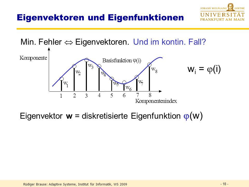 Rüdiger Brause: Adaptive Systeme, Institut für Informatik, WS 2009 - 17 - Eigenschaften natürlicher Bilder Fehler beim Vernachlässigen höh. Komponente