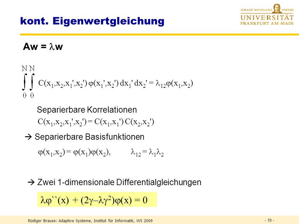 Rüdiger Brause: Adaptive Systeme, Institut für Informatik, WS 2009 - 18 - Eigenvektoren und Eigenfunktionen Komponentenindex Komponente 1 2 3 4 5 6 78