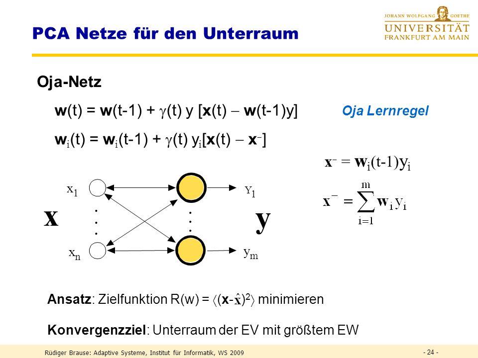 Rüdiger Brause: Adaptive Systeme, Institut für Informatik, WS 2009 - 23 - EINE Lernregel für Hebb-Lernen und Gewichtsnormierung Hebb-Regel w (t) = w (