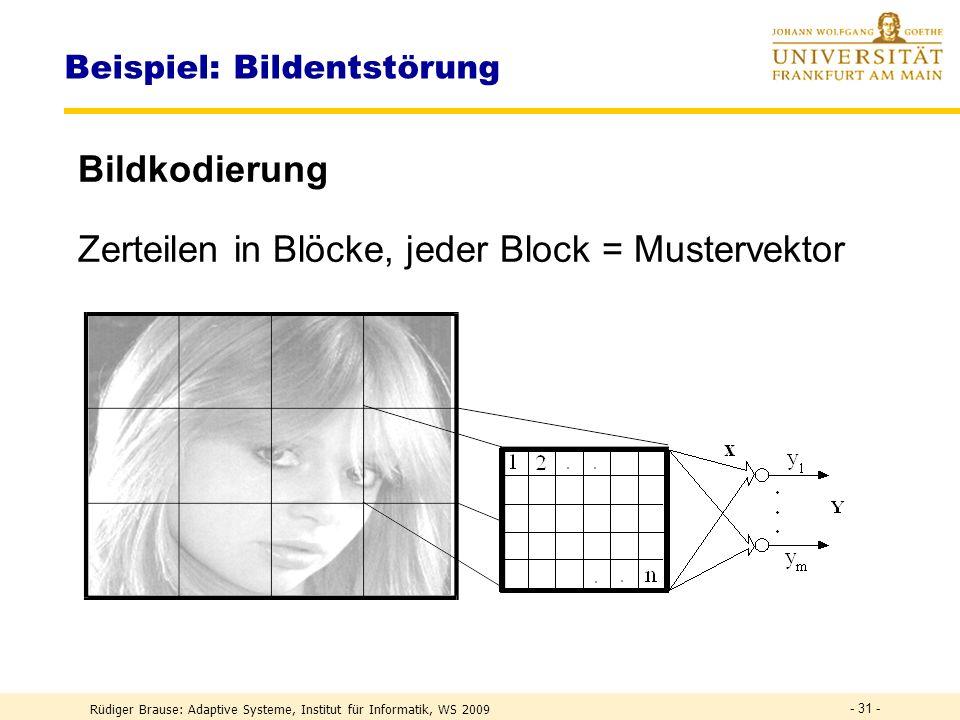 Rüdiger Brause: Adaptive Systeme, Institut für Informatik, WS 2009 - 30 - Beispiel: Bildentstörung ungestörtes Bild gestörtes Bild Bild mit Rausch- un