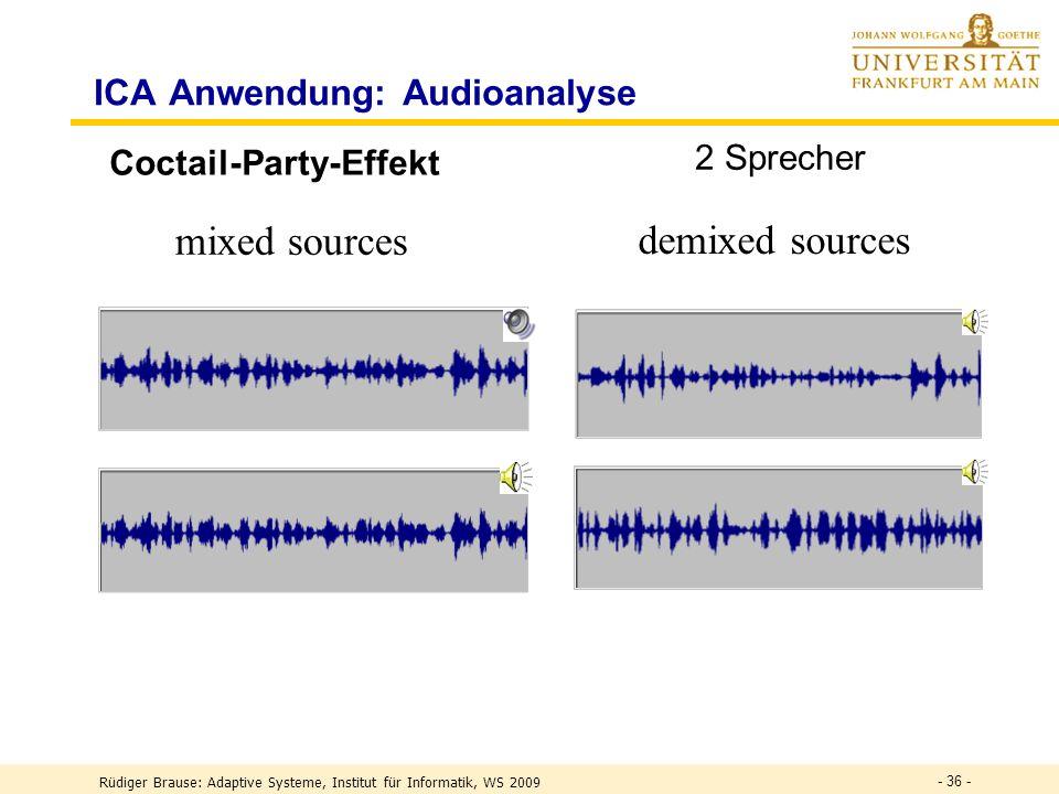 Rüdiger Brause: Adaptive Systeme, Institut für Informatik, WS 2009 - 35 - Lineares ICA-Modell M s1s2 sns1s2 sn x 1 x 2 x n W y1y2 yny1y2 yn Quellenmix