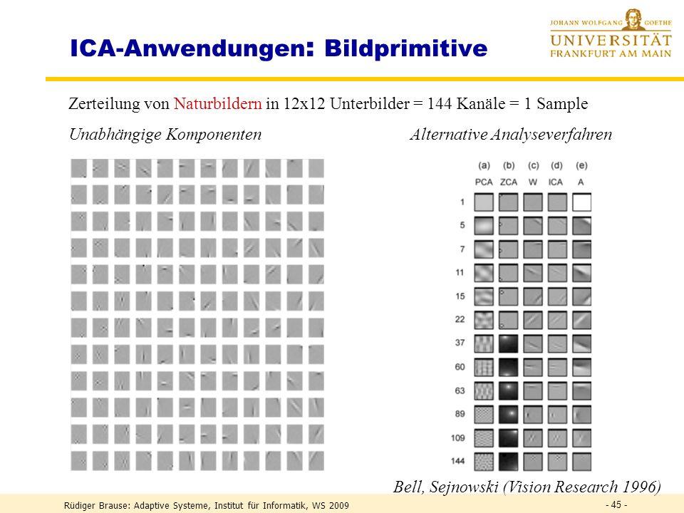 Rüdiger Brause: Adaptive Systeme, Institut für Informatik, WS 2009 - 44 - ICA – Algorithmen 2 Sequentielle Extraktion aller Komponenten Gegeben: Train