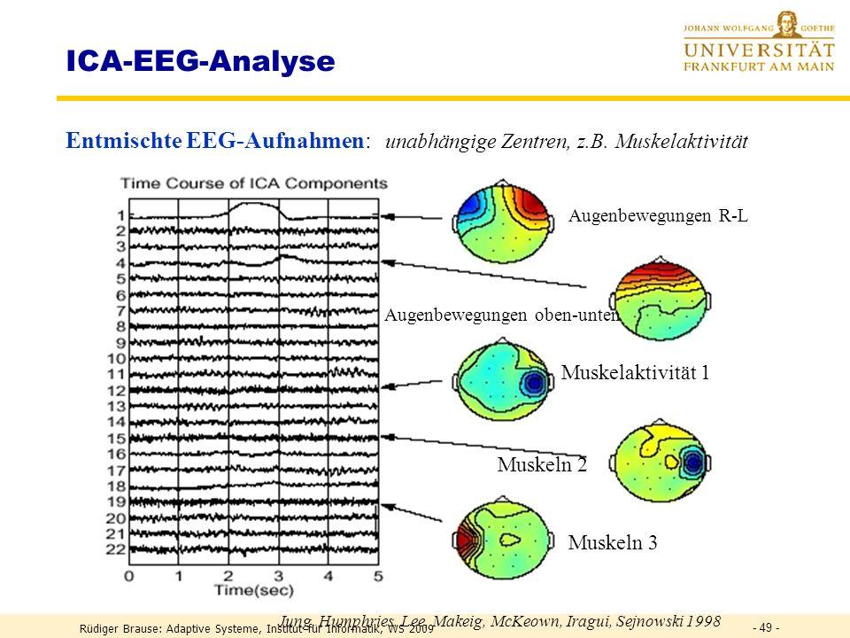 Rüdiger Brause: Adaptive Systeme, Institut für Informatik, WS 2009 - 48 - ICA-EEG-Filterung Korrigierte EEG-Aufnahmen ohne 5 ICA-Muskelaktivitäten, Mi