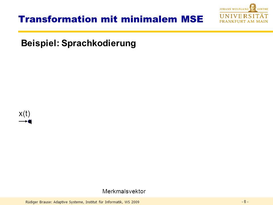 Rüdiger Brause: Adaptive Systeme, Institut für Informatik, WS 2009 - 18 - Eigenvektoren und Eigenfunktionen Komponentenindex Komponente 1 2 3 4 5 6 78 w 1 w 2 w 3 w 4 w 5 w 6 w 7 w 8 Basisfunktion (i) w i = (i) Min.