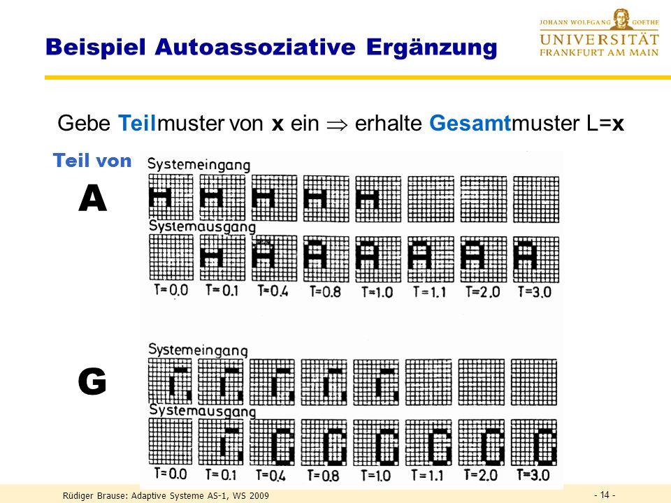 Rüdiger Brause: Adaptive Systeme AS-1, WS 2009 - 13 - Beispiel Autoassoziative Ergänzung Setze L(x) = x, lerne alle Muster ( symm. Matrix W). Beispiel