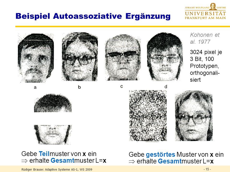 Rüdiger Brause: Adaptive Systeme AS-1, WS 2009 - 14 - Beispiel Autoassoziative Ergänzung Gebe Teilmuster von x ein erhalte Gesamtmuster L=x Teil von A