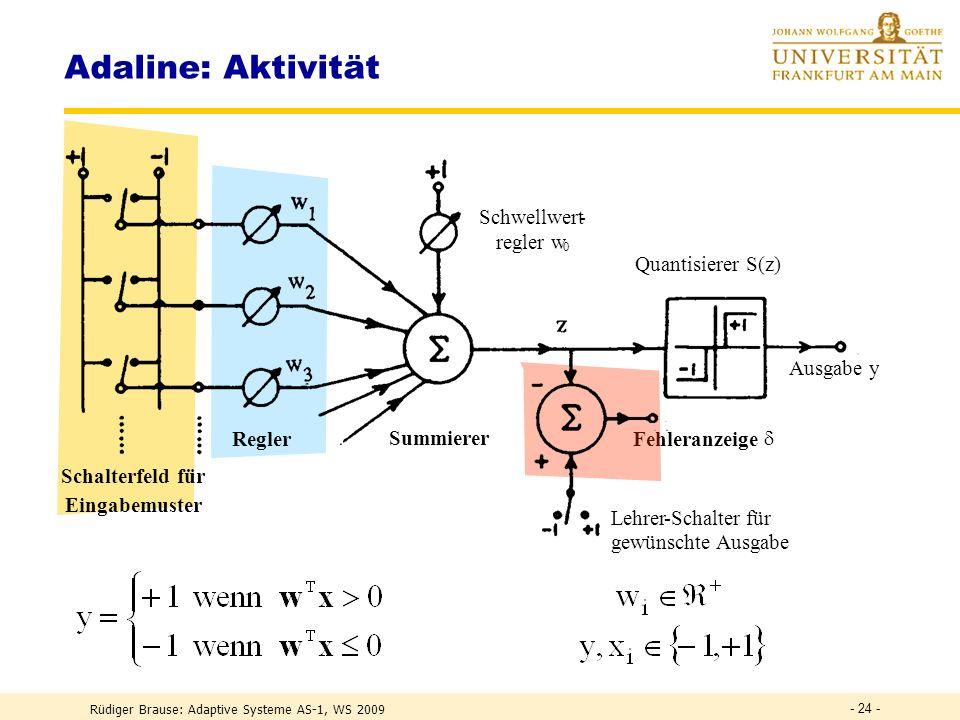 Rüdiger Brause: Adaptive Systeme AS-1, WS 2009 - 23 - Adaline ADAptive LINear ElementWidrow und Hoff (1960) Diskrete Ler n maschi n e aus Widerständen und Leitungen TGFTGF EingabeGewichte Fehlerangabe