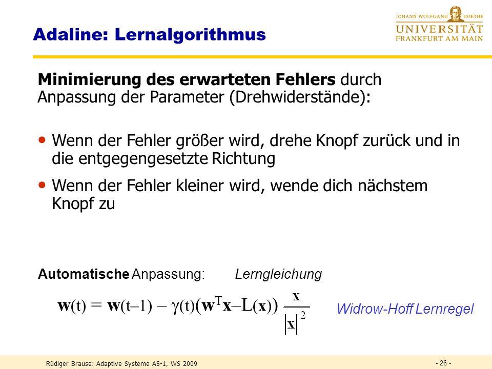 Rüdiger Brause: Adaptive Systeme AS-1, WS 2009 - 25 - Adaline: Aktivität Verlauf des Klassifizierungsfehlers bei Präsentation der T,G,F und Nachregelu
