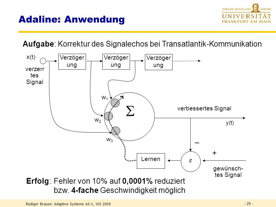 Rüdiger Brause: Adaptive Systeme AS-1, WS 2009 - 28 - Adaline: Pseudocode REPEAT Read( PatternFile,x,L) (* Eingabe *) x2 := Z(x x) (* |x| 2 *) (* Aktivität bilden im Netz *) FOR i:=1 TO m DO (* Ausgabe für alle Neuronen *) z [i] := Z(w [i],x) (* Aktivität errech n e n *) y [i] := S(z [i] ) (* Nicht-lin.