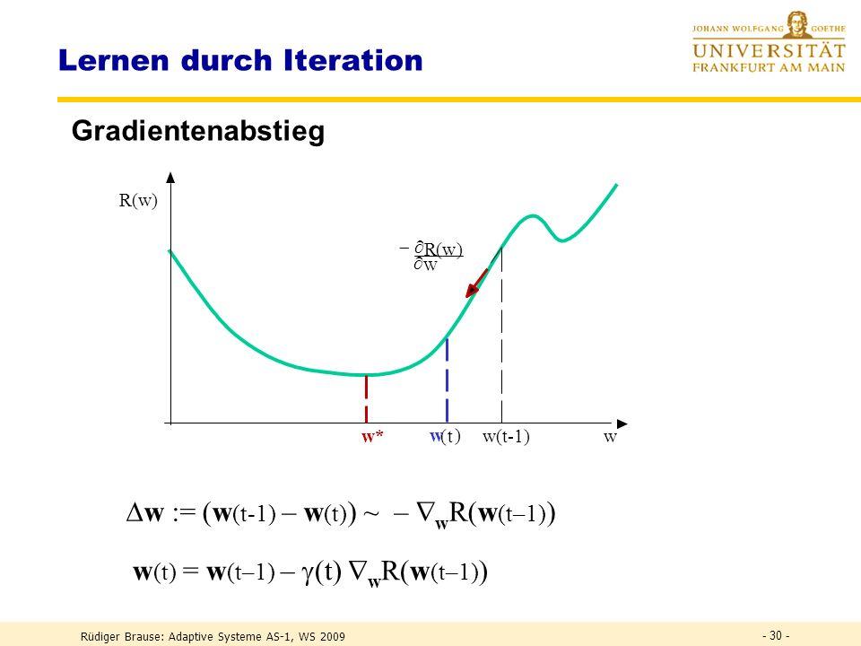 Rüdiger Brause: Adaptive Systeme AS-1, WS 2009 - 29 - Adaline: Anwendung w3w3 w2w2 w1w1 Verzöger ung verbessertes Signal verzerr tes Signal Lernen gew