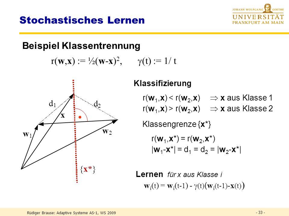 Rüdiger Brause: Adaptive Systeme AS-1, WS 2009 - 32 - Stochastisches Lernen Lernen mit Zielfunktion R(w) = r(w,x) x w(t) = w(t-1) - (t) w R ( w(t-1) ) wird ersetzt durch Lernen mit stochast.