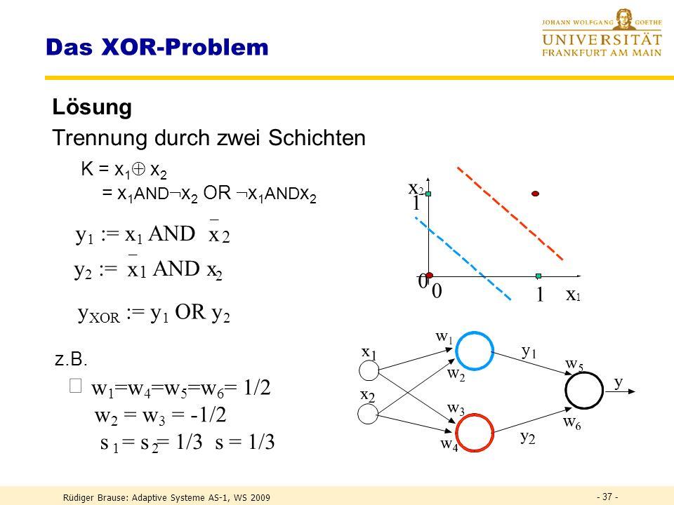 Rüdiger Brause: Adaptive Systeme AS-1, WS 2009 - 36 - Das XOR-Problem Aufgabe Trennung zweier Klassen durch eine Gerade – wie ? x 1 x 2 0 1 0 1 0 = {