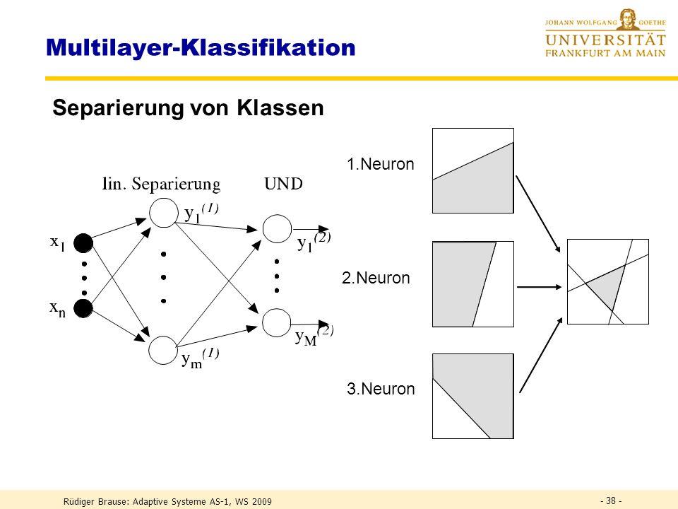 Rüdiger Brause: Adaptive Systeme AS-1, WS 2009 - 37 - Das XOR-Problem Lösung Trennung durch zwei Schichten x 1 x 2 0 1 0 1 K = x 1 x 2 = x 1 AND x 2 O