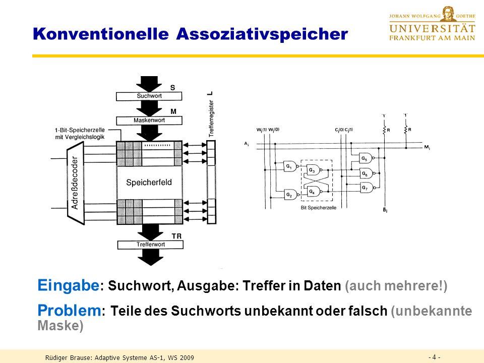 Rüdiger Brause: Adaptive Systeme AS-1, WS 2009 - 3 - Informationssystem: Speichern und Abrufen von Information RAM-Speicher Speichern: Adresse A Speic