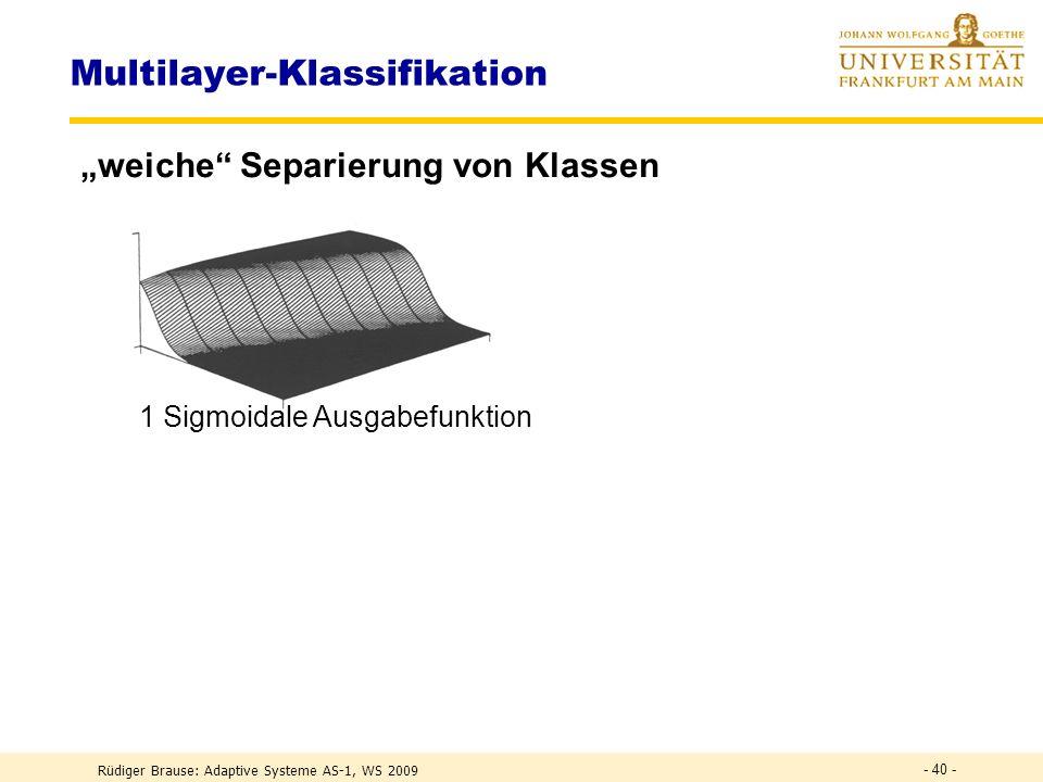 Rüdiger Brause: Adaptive Systeme AS-1, WS 2009 - 39 - Multilayer-Klassifikation weiche Separierung von Klassen Veränderung der sigmoidalen Ausgabefunk
