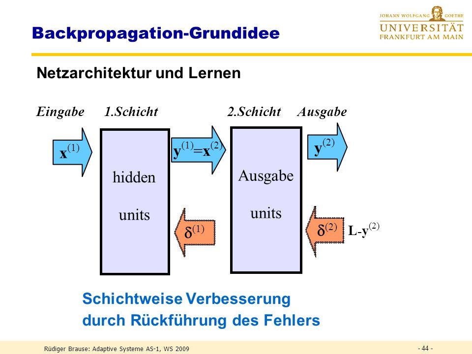 Rüdiger Brause: Adaptive Systeme AS-1, WS 2009 - 43 - Backpropagation Netzarchitektur und Aktivität Eingabe hidden units Ausgabe x Gesamtaktivität