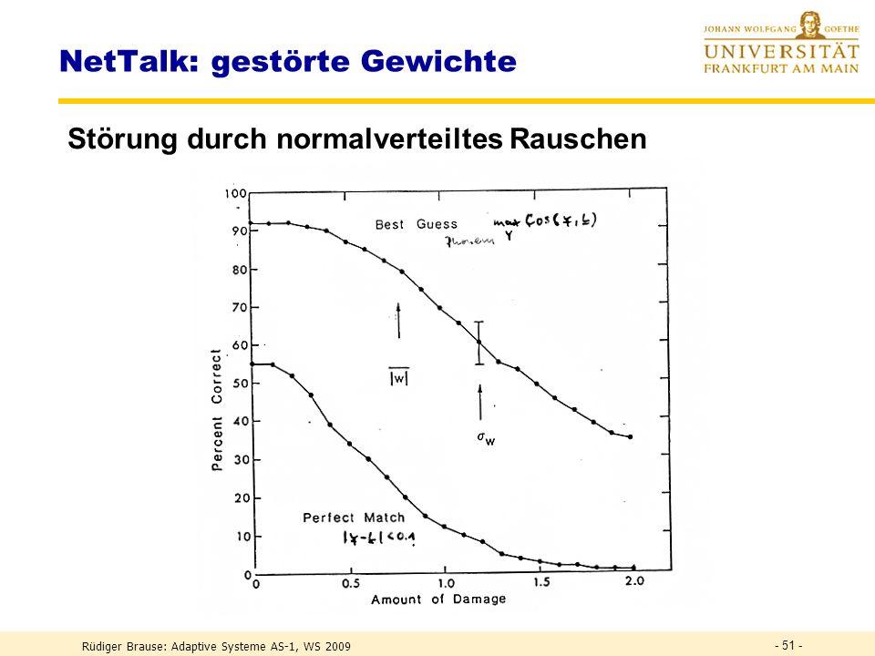 Rüdiger Brause: Adaptive Systeme AS-1, WS 2009 - 50 - NetTalk: Training Ergebnis Trennung der Konsonanten von Vokalen (Babbeln) Entwicklung der Wortgr
