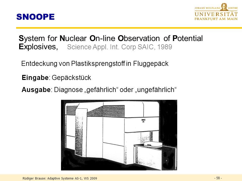 Rüdiger Brause: Adaptive Systeme AS-1, WS 2009 - 57 - Analyse der Neuronengewichte Hauptkomponentenanalyse Lin. Approximation (1. Glied Taylorentwickl