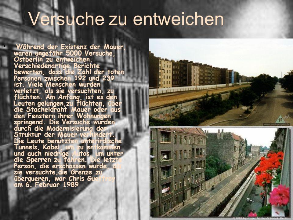 Versuche zu entweichen Während der Existenz der Mauer, waren ungefähr 5000 Versuche, Ostberlin zu entweichen. Verschiedenartige Berichte bewerten, das