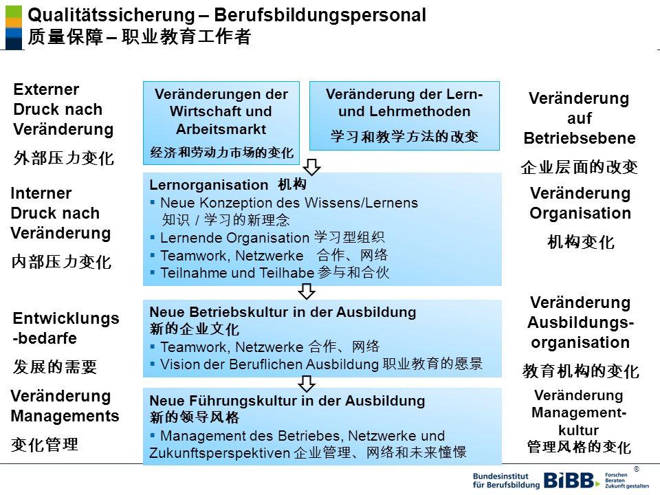 ® Externer Druck nach Veränderung Veränderungen der Wirtschaft und Arbeitsmarkt Lernorganisation Neue Konzeption des Wissens/Lernens / Lernende Organisation Teamwork, Netzwerke Teilnahme und Teilhabe Veränderung der Lern- und Lehrmethoden Veränderung auf Betriebsebene Interner Druck nach Veränderung Veränderung Organisation Entwicklungs -bedarfe Neue Betriebskultur in der Ausbildung Teamwork, Netzwerke Vision der Beruflichen Ausbildung Veränderung Ausbildungs- organisation Veränderung Managements Neue Führungskultur in der Ausbildung Management des Betriebes, Netzwerke und Zukunftsperspektiven Veränderung Management- kultur Qualitätssicherung – Berufsbildungspersonal –