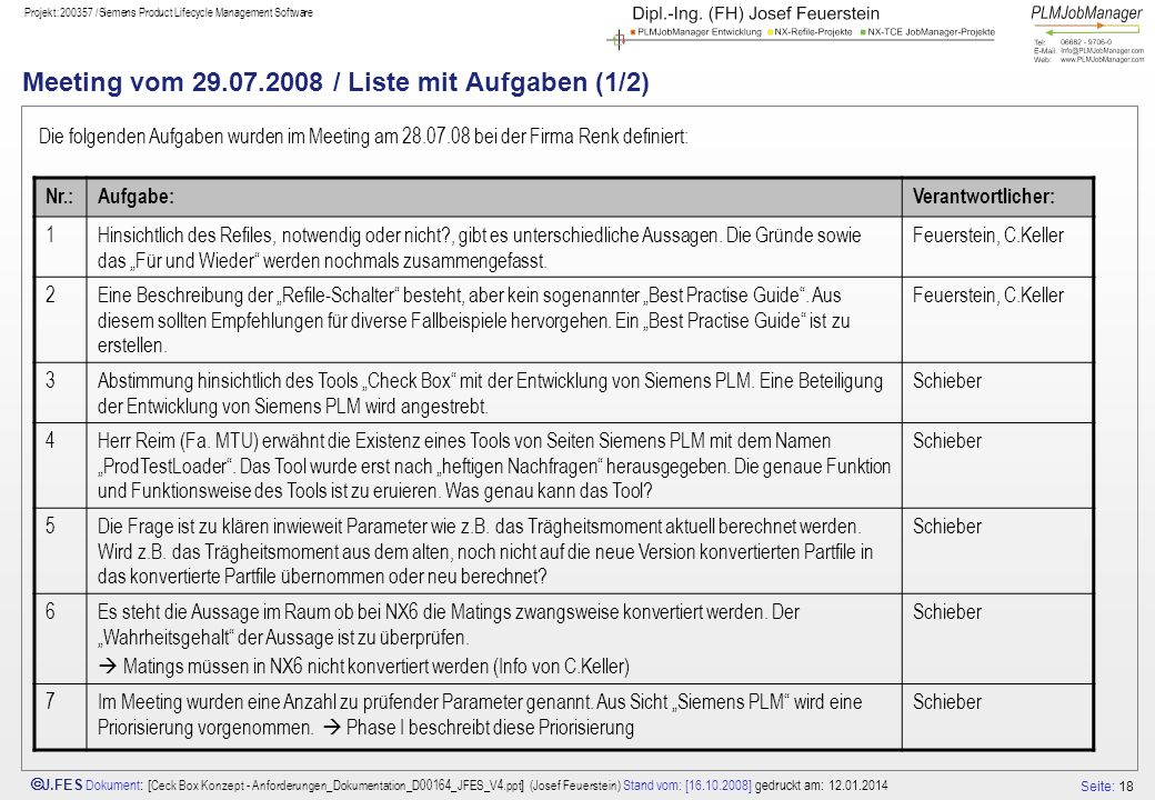 Seite: 18 J.FES Dokument : [ Ceck Box Konzept - Anforderungen_Dokumentation_D00164_JFES_V4.ppt ] (Josef Feuerstein) Stand vom: [16.10.2008] gedruckt am: 12.01.2014 Projekt:200357 /Siemens Product Lifecycle Management Software Meeting vom 29.07.2008 / Liste mit Aufgaben (1/2) Die folgenden Aufgaben wurden im Meeting am 28.07.08 bei der Firma Renk definiert: Nr.:Aufgabe:Verantwortlicher: 1Hinsichtlich des Refiles, notwendig oder nicht , gibt es unterschiedliche Aussagen.
