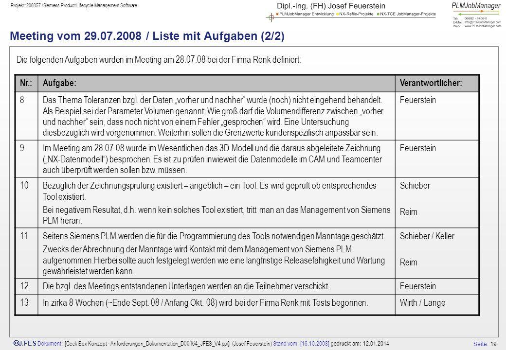 Seite: 19 J.FES Dokument : [ Ceck Box Konzept - Anforderungen_Dokumentation_D00164_JFES_V4.ppt ] (Josef Feuerstein) Stand vom: [16.10.2008] gedruckt am: 12.01.2014 Projekt:200357 /Siemens Product Lifecycle Management Software Meeting vom 29.07.2008 / Liste mit Aufgaben (2/2) Die folgenden Aufgaben wurden im Meeting am 28.07.08 bei der Firma Renk definiert: Nr.:Aufgabe:Verantwortlicher: 8Das Thema Toleranzen bzgl.