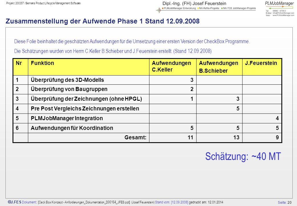 Seite: 20 J.FES Dokument : [ Ceck Box Konzept - Anforderungen_Dokumentation_D00164_JFES.ppt ] (Josef Feuerstein) Stand vom: [12.09.2008] gedruckt am:
