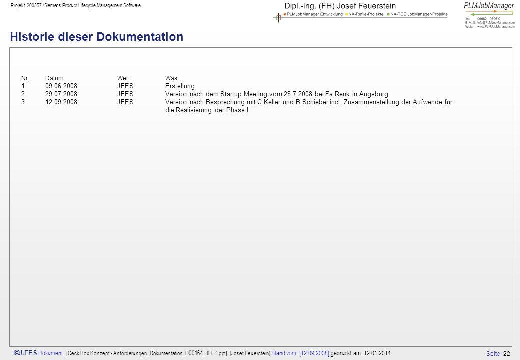 Seite: 22 J.FES Dokument : [ Ceck Box Konzept - Anforderungen_Dokumentation_D00164_JFES.ppt ] (Josef Feuerstein) Stand vom: [12.09.2008] gedruckt am: