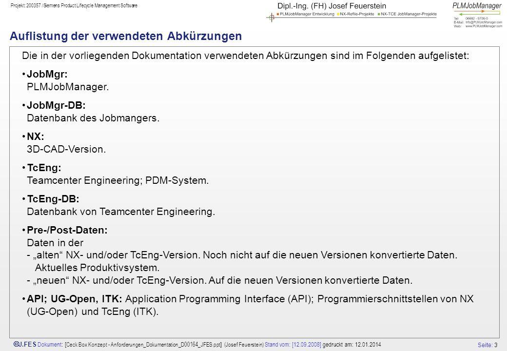 Seite: 24 J.FES Dokument : [ Ceck Box Konzept - Anforderungen_Dokumentation_D00164_JFES.ppt ] (Josef Feuerstein) Stand vom: [12.09.2008] gedruckt am: 12.01.2014 Projekt:200357 /Siemens Product Lifecycle Management Software # Archiv Folien