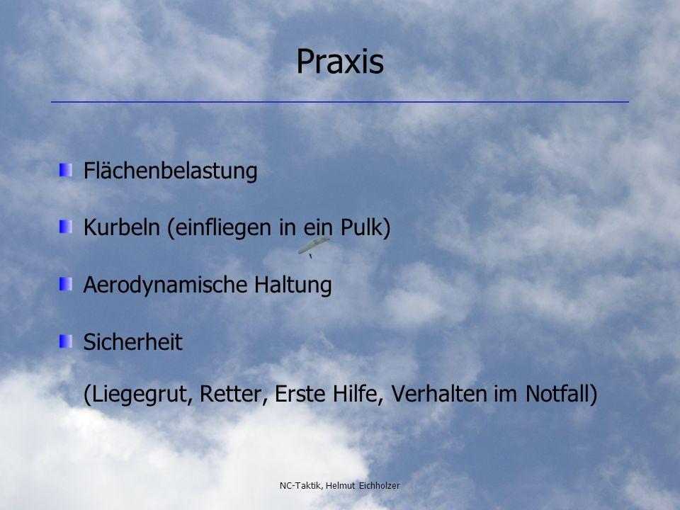 NC-Taktik, Helmut Eichholzer Praxis Flächenbelastung Kurbeln (einfliegen in ein Pulk) Aerodynamische Haltung Sicherheit (Liegegrut, Retter, Erste Hilf