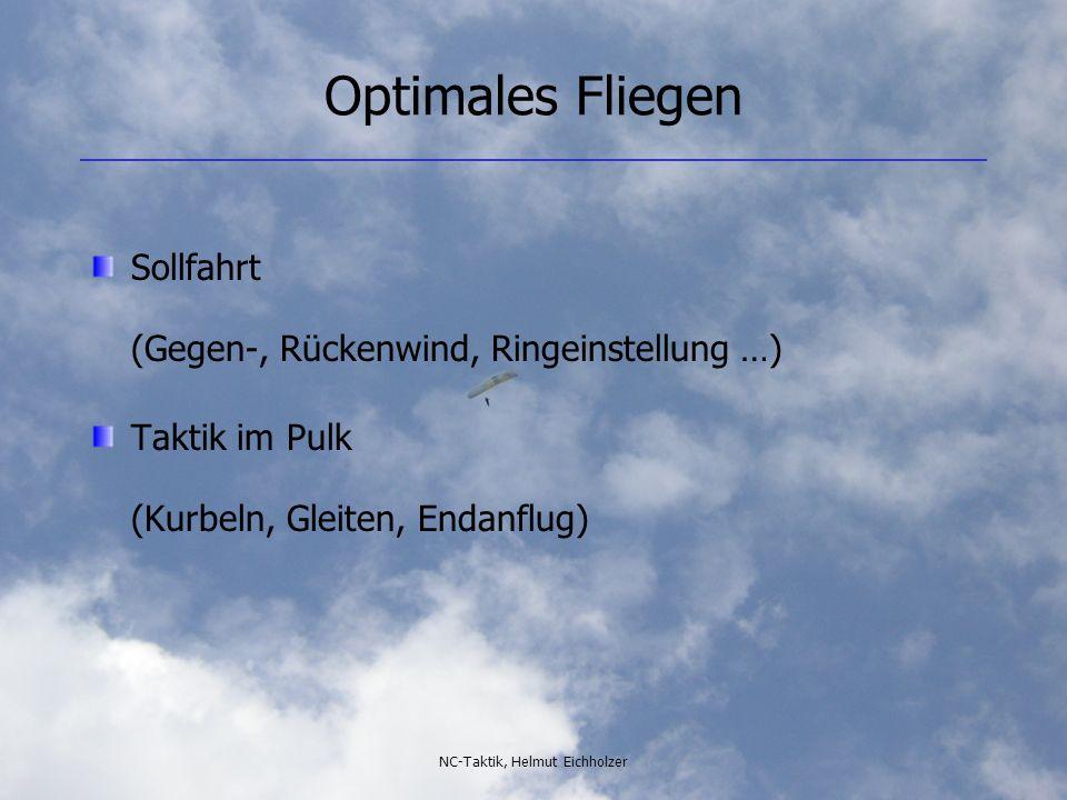 NC-Taktik, Helmut Eichholzer Optimales Fliegen Sollfahrt (Gegen-, Rückenwind, Ringeinstellung …) Taktik im Pulk (Kurbeln, Gleiten, Endanflug)
