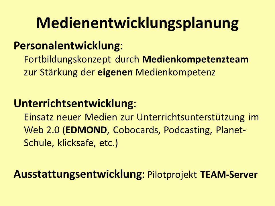Medienentwicklungsplanung Personalentwicklung: Fortbildungskonzept durch Medienkompetenzteam zur Stärkung der eigenen Medienkompetenz Unterrichtsentwi