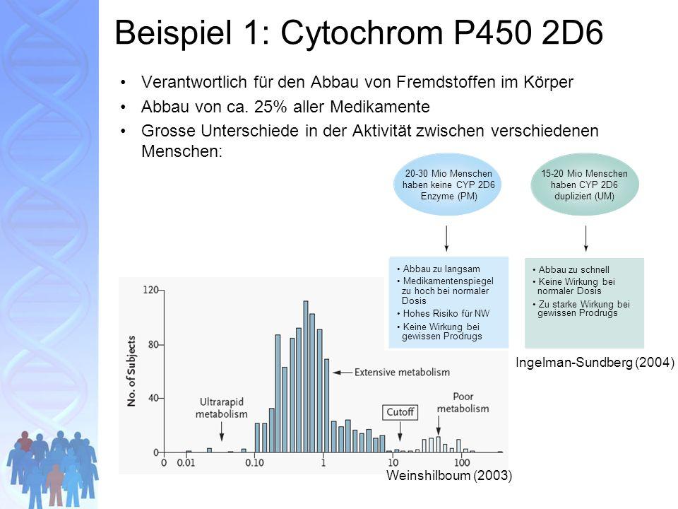 Beispiel 1: Cytochrom P450 2D6 Verantwortlich für den Abbau von Fremdstoffen im Körper Abbau von ca.