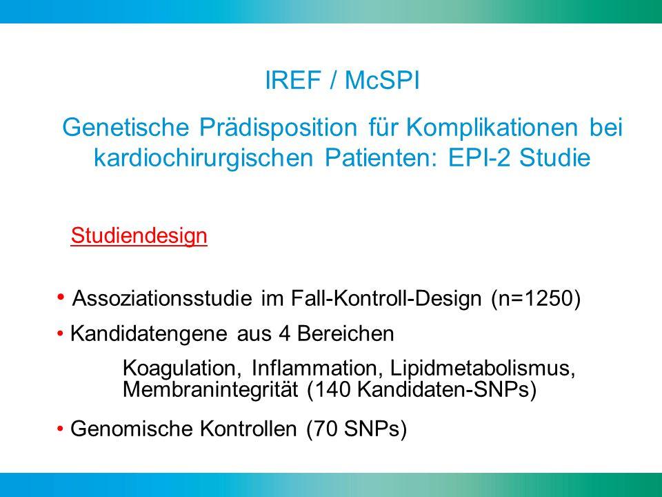 IREF / McSPI Genetische Prädisposition für Komplikationen bei kardiochirurgischen Patienten: EPI-2 Studie Studiendesign Assoziationsstudie im Fall-Kon