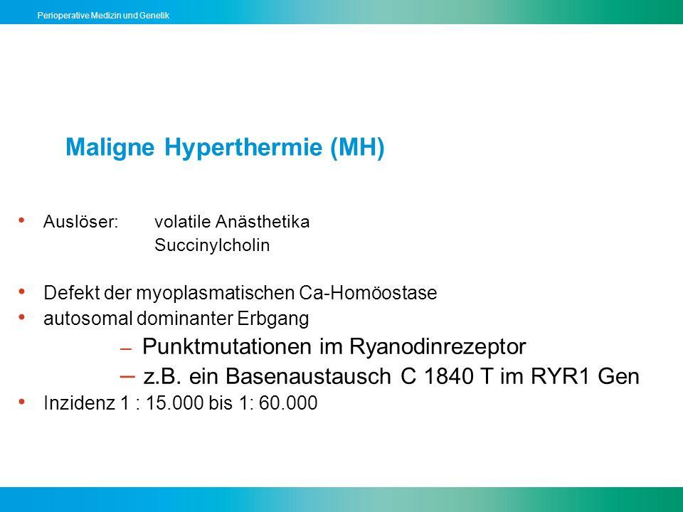 Perioperative Medizin und Genetik Maligne Hyperthermie (MH) Auslöser: volatile Anästhetika Succinylcholin Defekt der myoplasmatischen Ca-Homöostase au